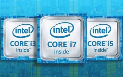 Spécifications des processeurs Intel et AMD